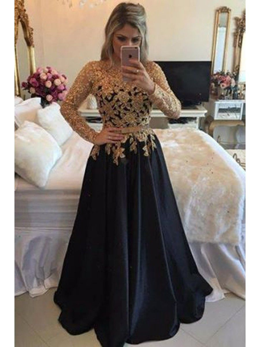 Aline gold lace appliques long sleeves prom dresses party evening