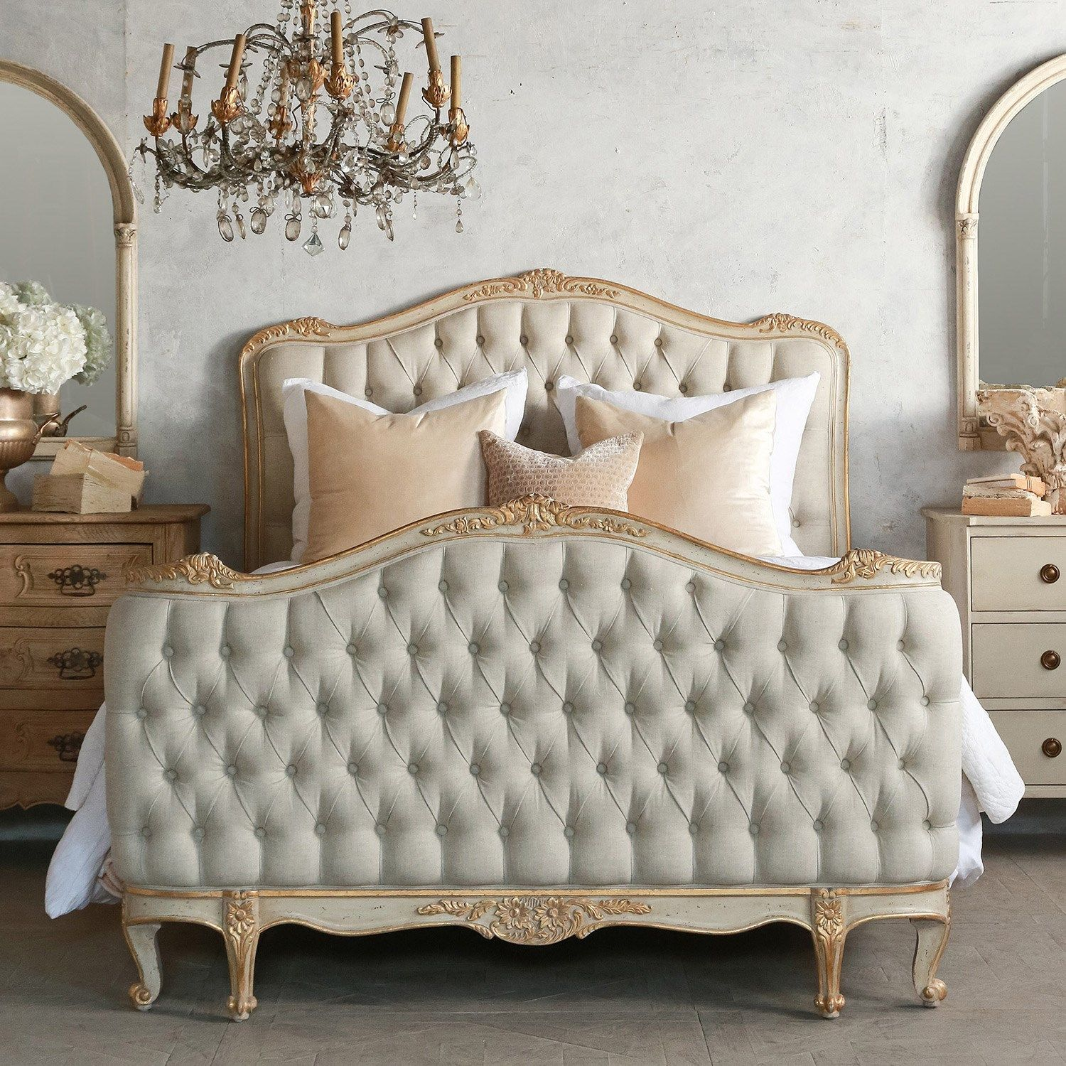 Eloquence® Sophia Tufted Bed, Made In The Classic Louis XV Corbeille Style.  Beautifully Hand Finished In Our New Antique Gold Two Tone Finish With Fog  Linen ... Design