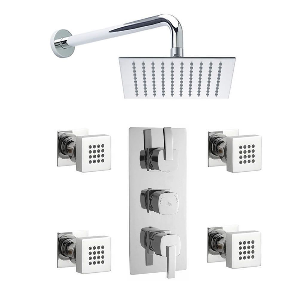 Arco Triple Concealed Thermostatic Shower Valve Sheer Fixed Head And Body Jets Shower Valve Fixed Shower Head Shower Heads