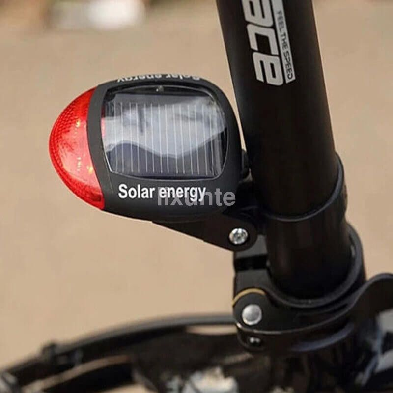 Solar Energy Rechargeable Commuter Red LED Bike Bycicle Rear Tail Flash Light
