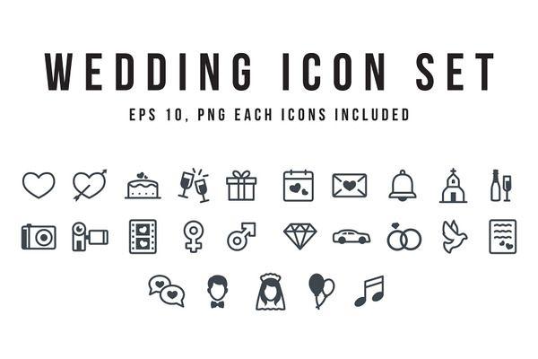 wedding icon set in 2 styles wedding