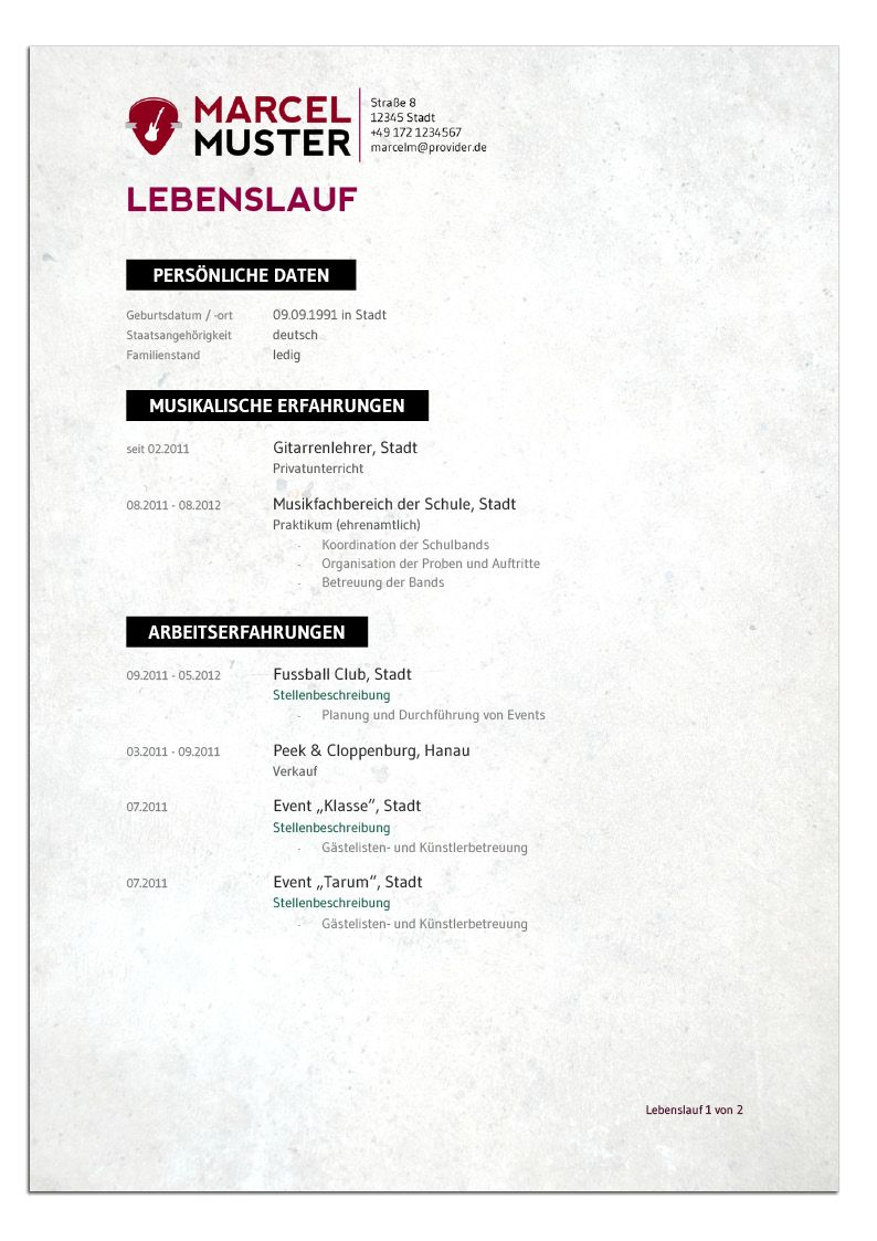 Bewerbungsdesign - Musiker (Lebenslauf) Resume, Music Artists