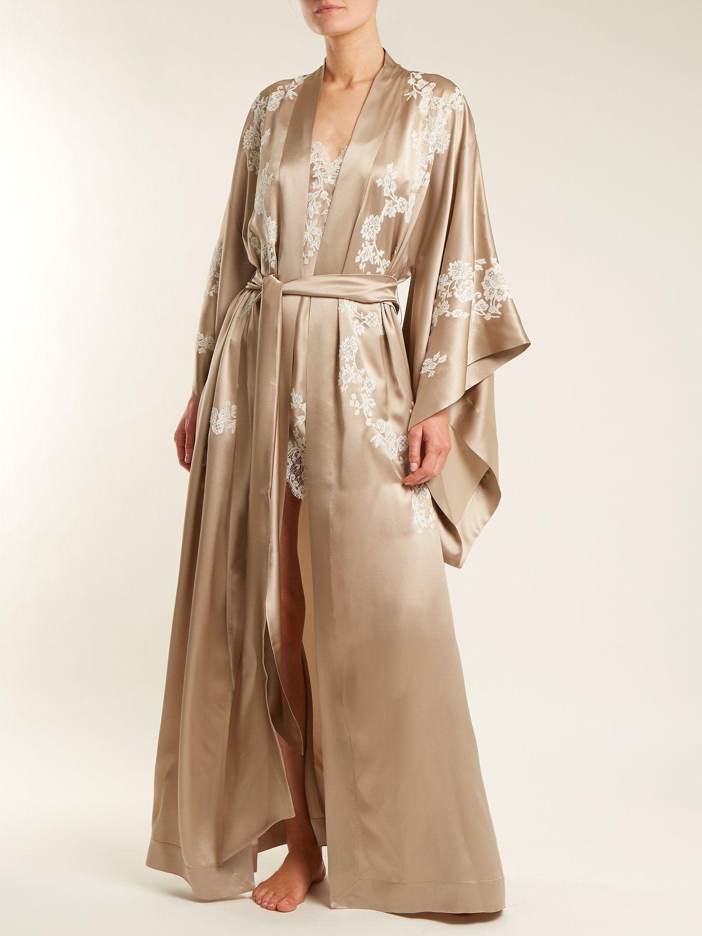 Lace-detailed silk-satin kimono robe Carine Gilson Fashion Style Cheap Online C7CkNlZ