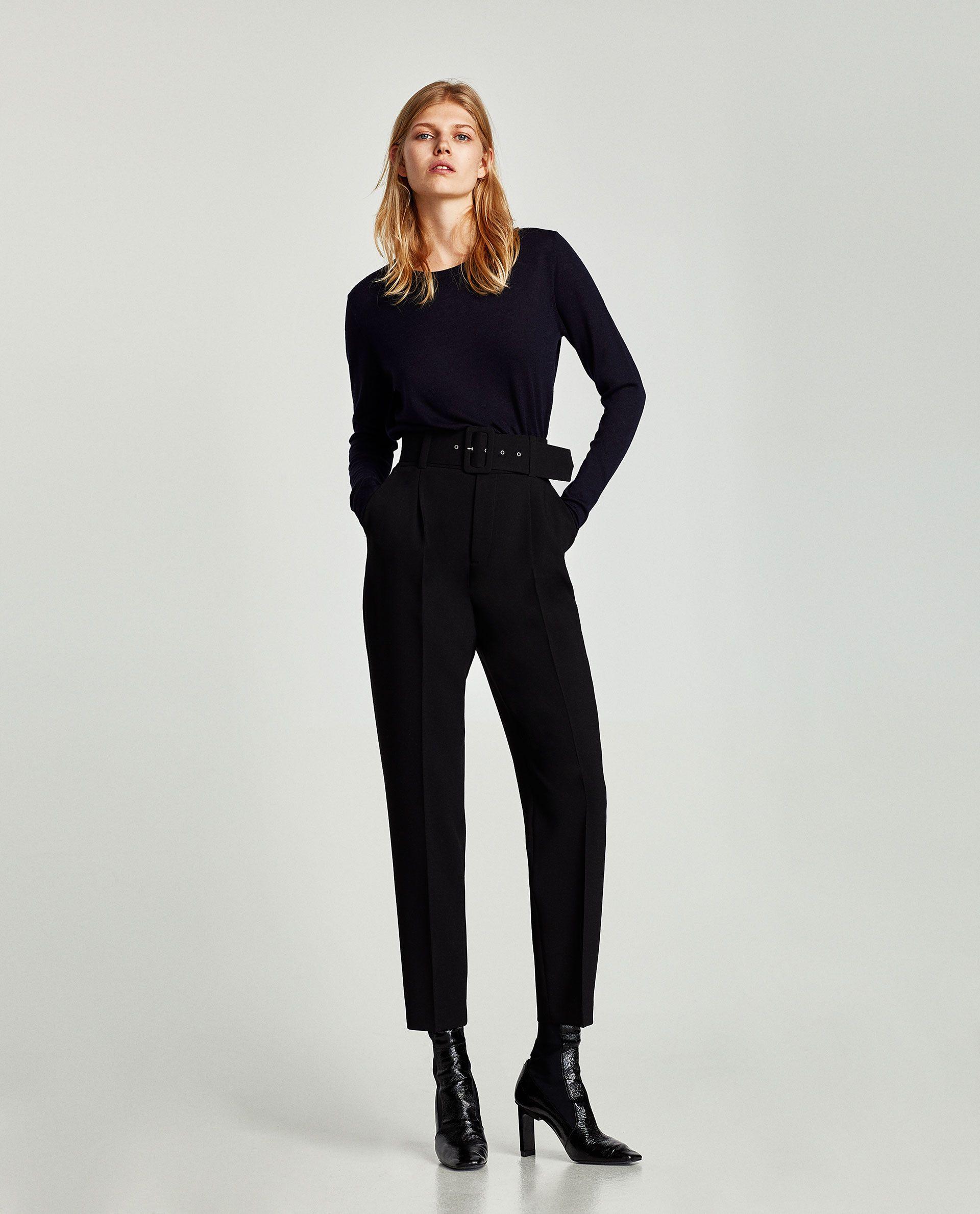 pas mal 09f67 9a718 PANTALÓN CREPE CINTURÓN | Corporate Work Style | Pantalones ...