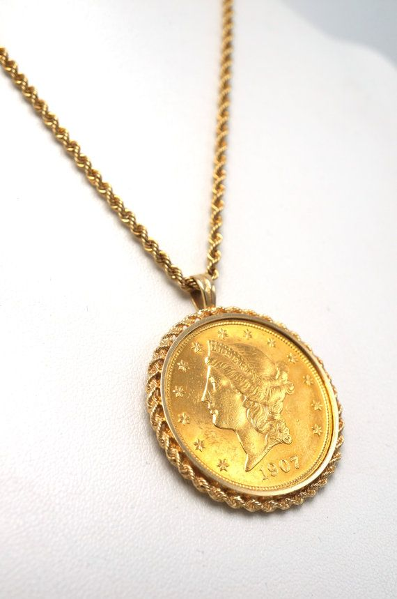 Vintage 1907 20 Liberty Head Double Eagle Us Gold Coin Faces Up Nice And Really Shines In The Sunlight A Per Coin Jewelry Gold Coin Jewelry Gold Coin Necklace