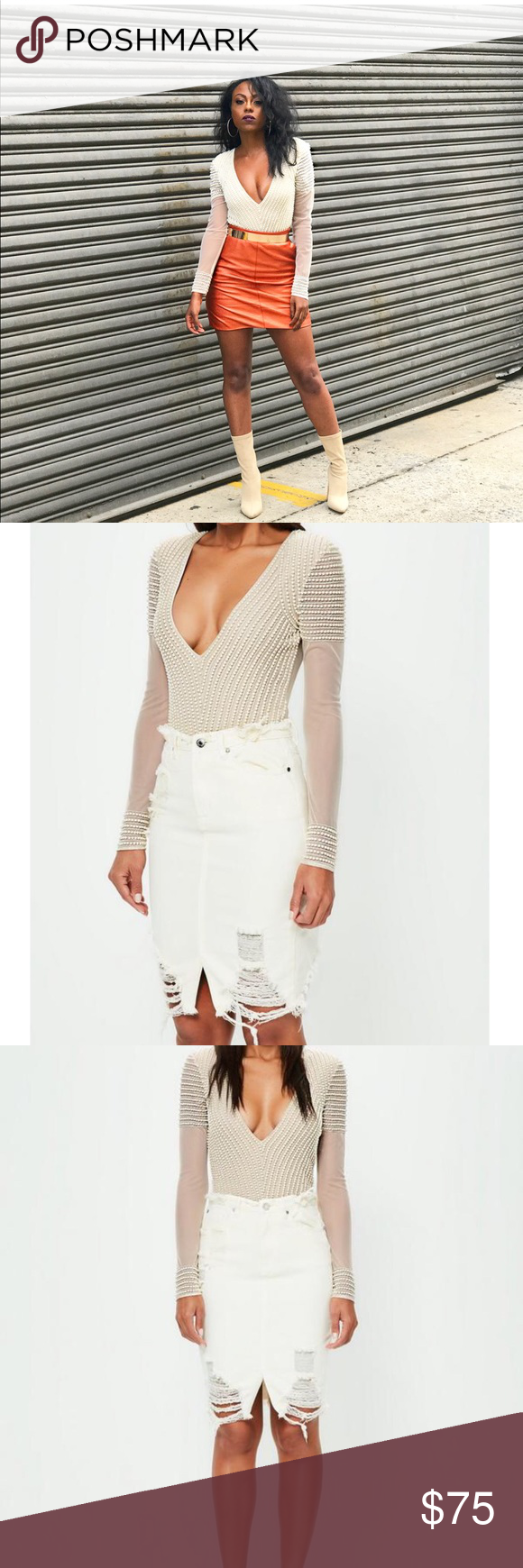 PEACE + LOVE PEARL EMBELLISHED BODYSUIT Conquer your evening game in this nude  bodysuit  94a0bc3bb