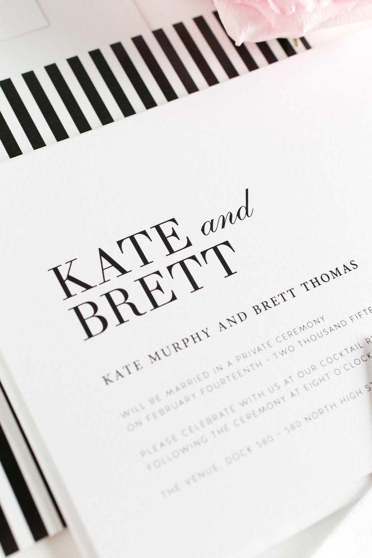 Modern Black and White Wedding Invitations | Wedding, Weddings and ...