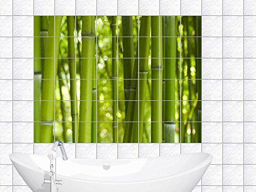 Fliesendekor Badezimmer ~ Fliesenaufkleber fliesenbild bambus grün im querformat für