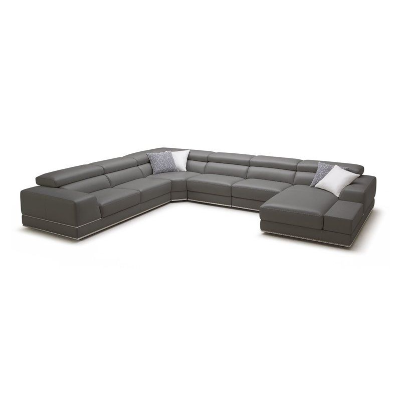 Leather Right Hand Facing Sectional Leather Sectional