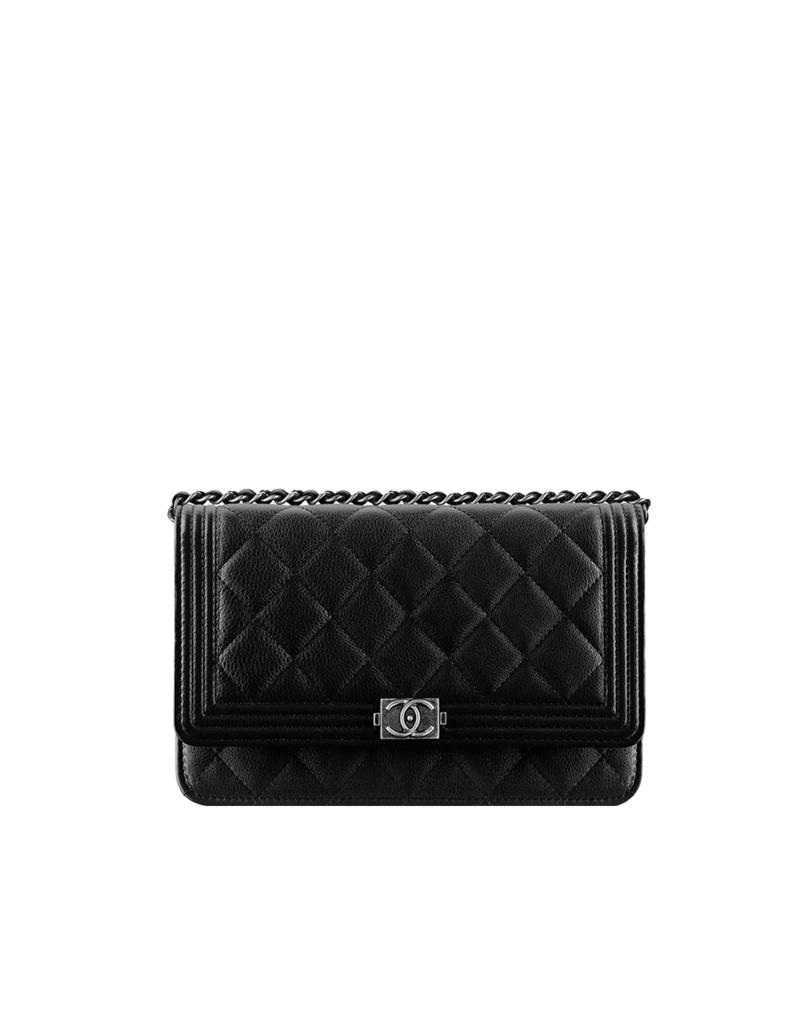59b74a09c7ef Boy CHANEL wallet with chain, grained calfskin & ruthenium metal-black…