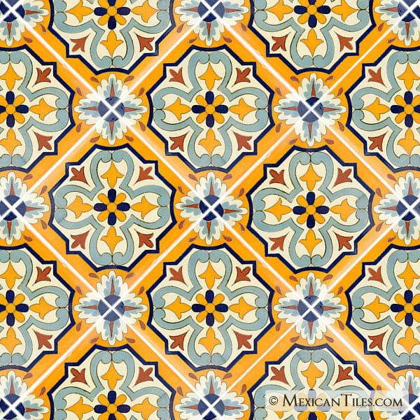 Mexican Tile 12x12 Villafranca 1 Terra Nova Floor Tile Painting Tile Floors Painted Floor Tile Floor
