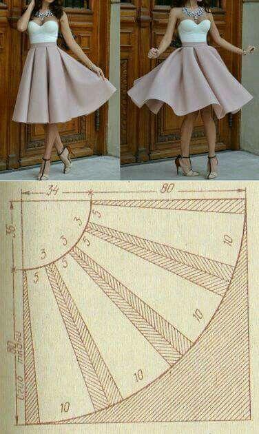 e2ffc1107 Falda campana con tablones | Faldas | Coser falda, Cómo coser y ...