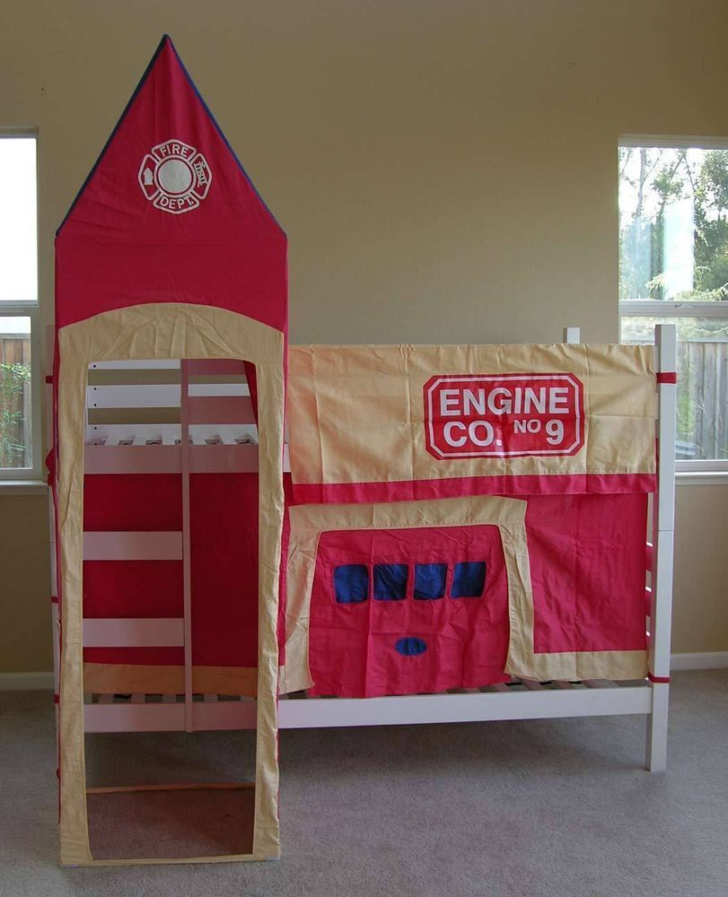 Loft bed with slide and desk  Kids Firehouse Tent Set For Bunk Bed  Timo time  Pinterest  Teen