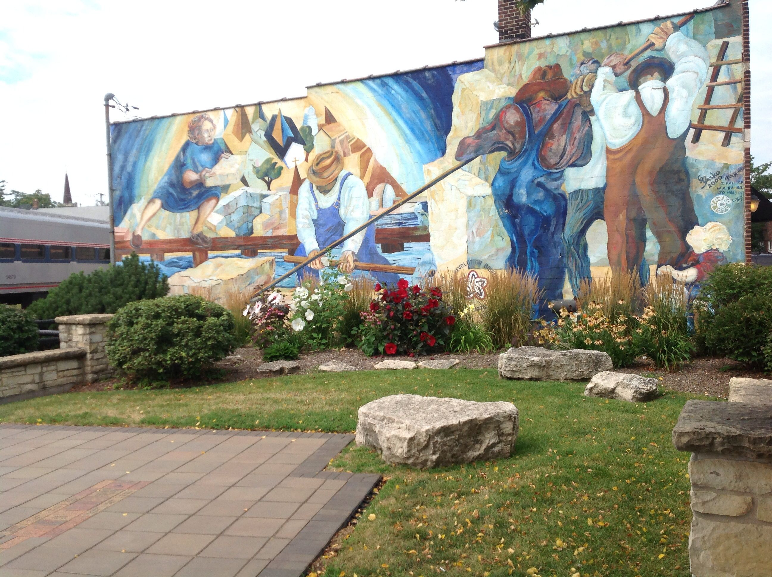 Mural by the train station in downtown lemont il i m for Mural in chicago illinois
