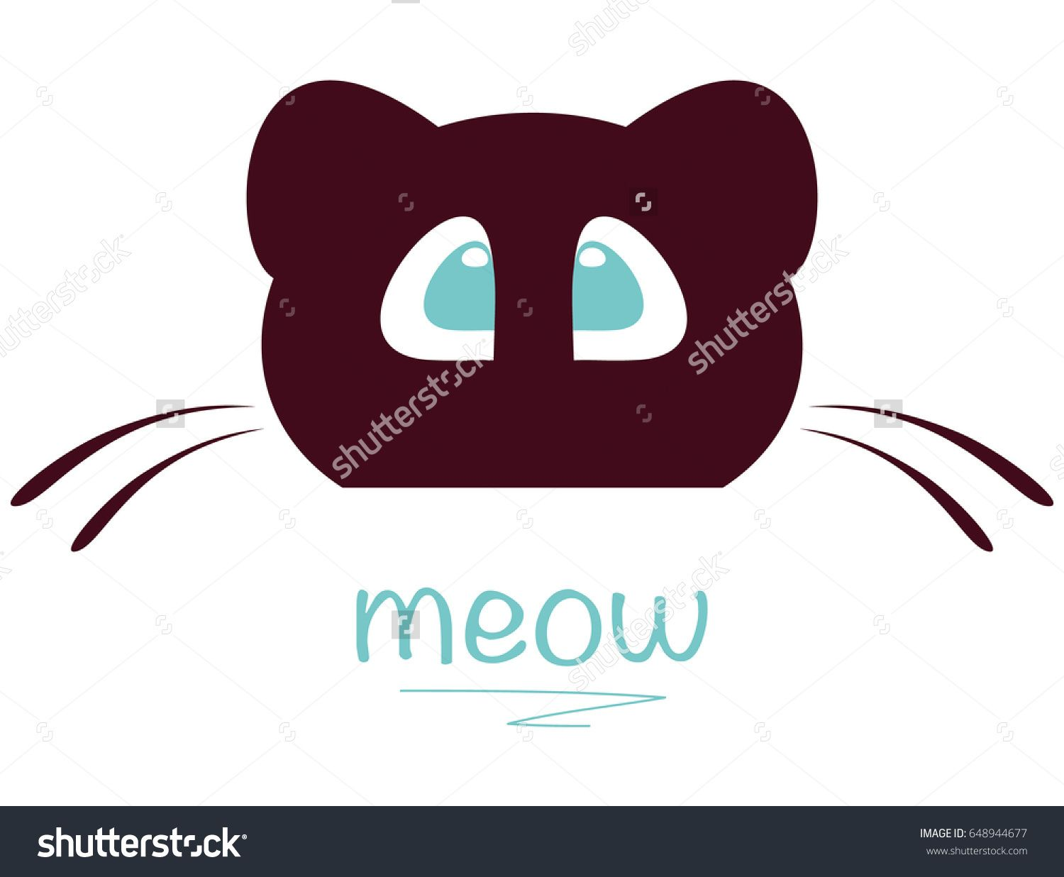 Illustration Of Cat Head Isolated On White Template For Pet Shop