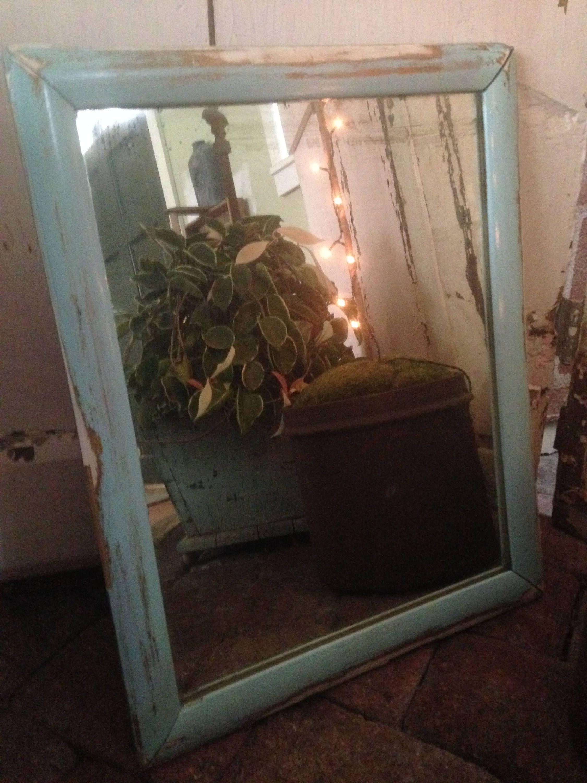 Vintage Wall Mirror,Circa 1940S,Wood Frame,Worn Seaglass Blue Patina,Original