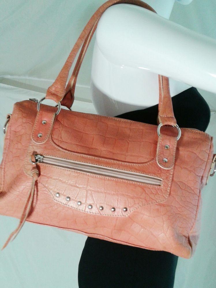 1471028514 Regina Genuine Leather Pink Embossed Satchel Purse Shoulder Bag Made in  Italy  Regina  ShoulderBag