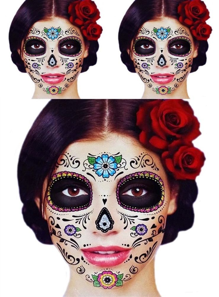 3 day of the dead dia de los muertos glitter flower sugar skull halloween masks
