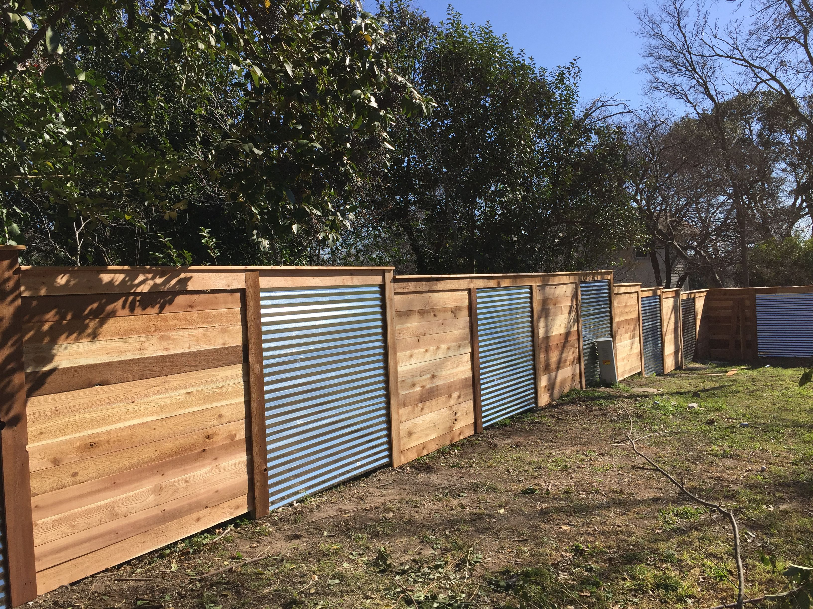 Wood And Metal Privacy Fence. Metal And Wood Privacy Fence Pinterest ...