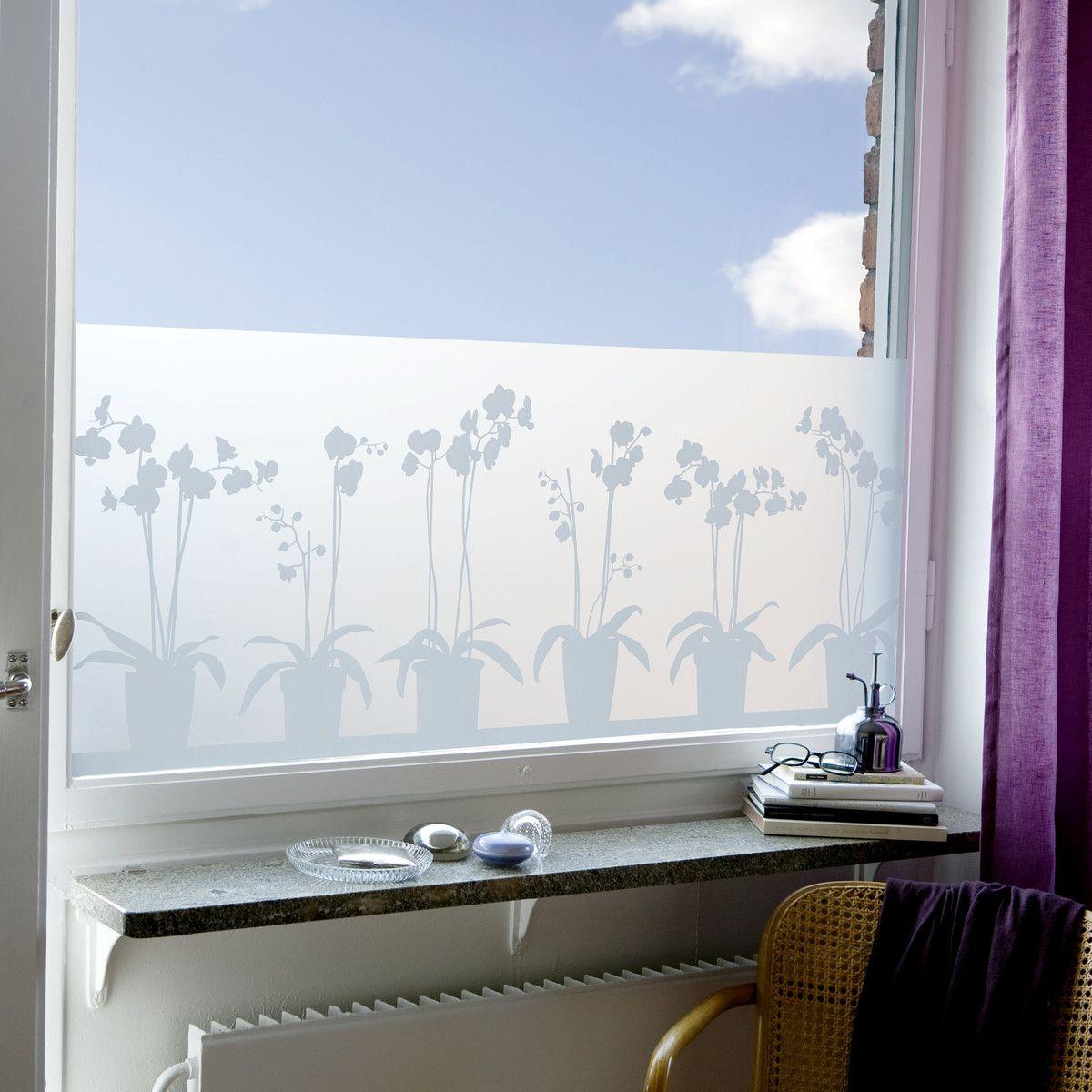 Milchglasfolie Badezimmer | Ladp Orchids In Pots Sichtschutzfolie Klein 34x98cm Dekoration