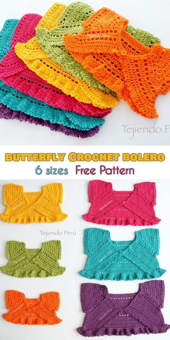 Butterfly Crochet Bolero for Babies and Kids [Free Pattern ...