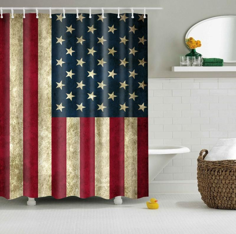 Vintage Rustic 4th Of July American Flag Shower Curtain Bathroom