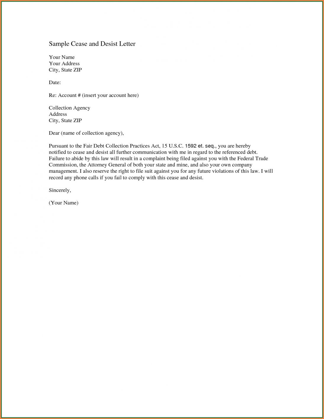 26++ What is a cease and desist letter to a collection agency ideas
