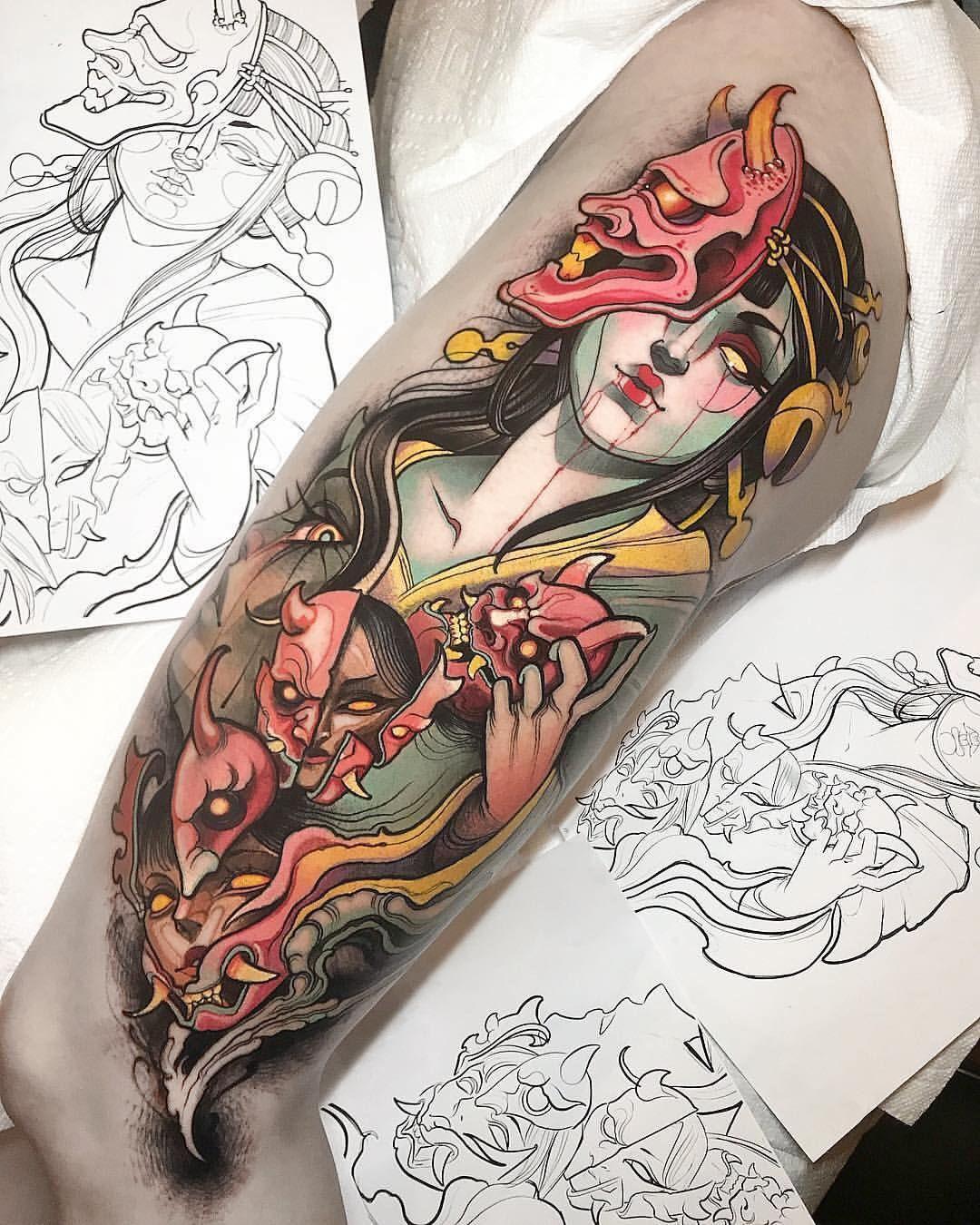 Irezumi Collective En Instagram Collaboration Between Isnard Barbosa Tiffer Wright Locat Japanese Tattoo Designs Geisha Tattoo Design Japanese Tattoo