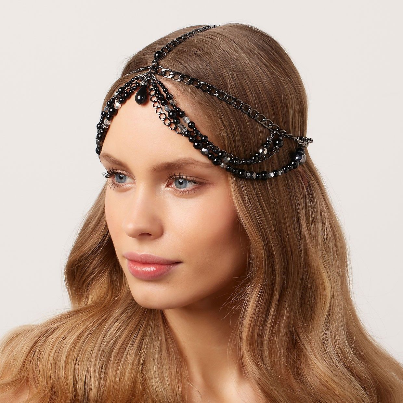 Black-Pearl-Chain-Headpiece-Jewelry | Chain headpiece