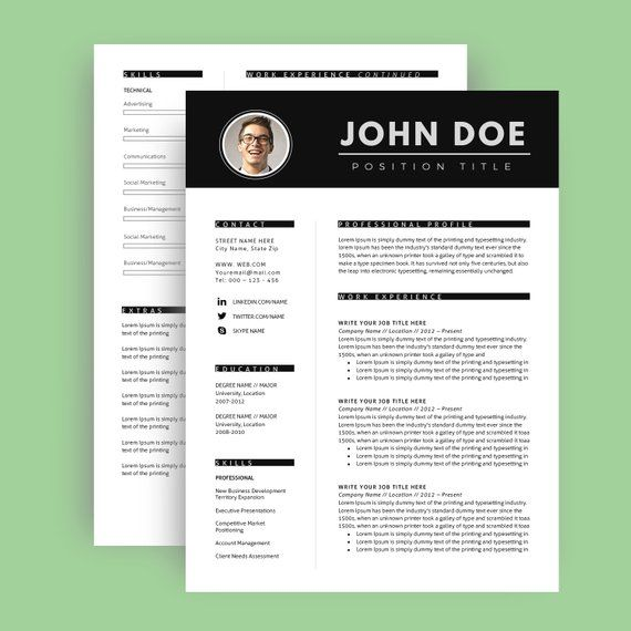 Resume Template With Photo / CV Template + Cover Letter