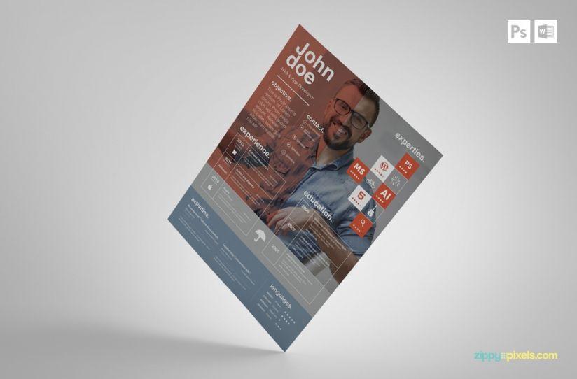 Free Creative PSD Resume Template Premium MS Word Resume  Cover