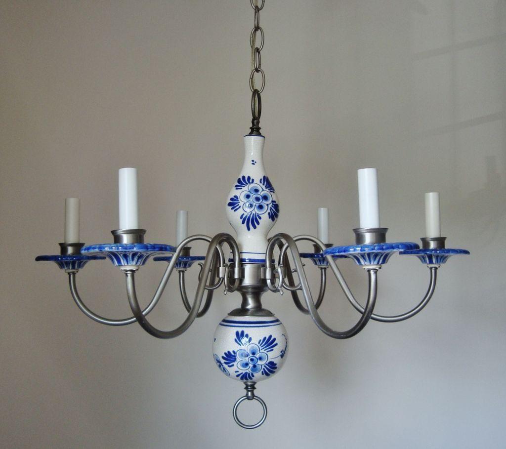 Fabulous Blue White Delft Porcelain Pewter 6 Light Chandelier Fixture