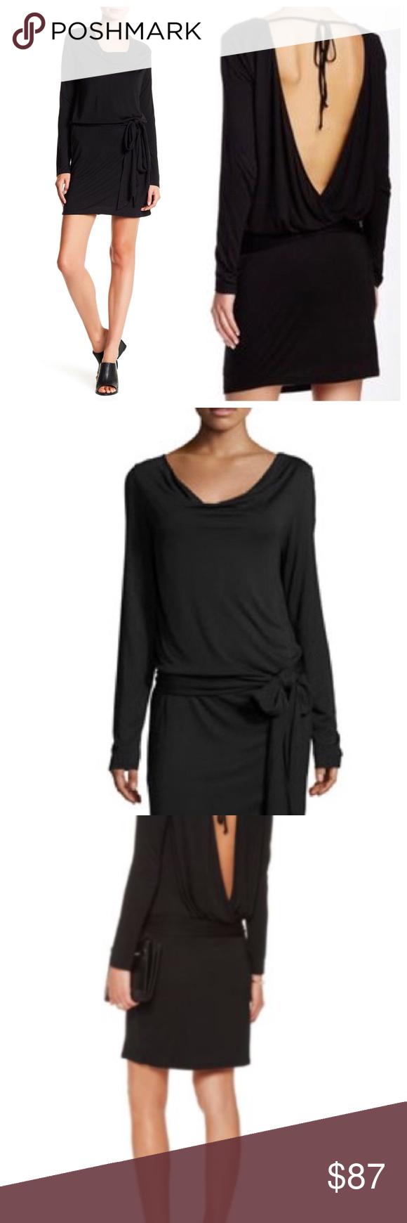 New haute hippe black wrap effect modal dress nwt faux wrap dress