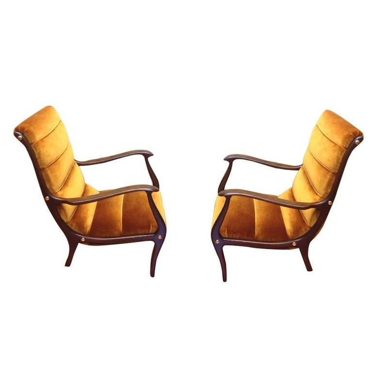 New Ezio Longhi Italian 20th Century Lounge Chairs Restored