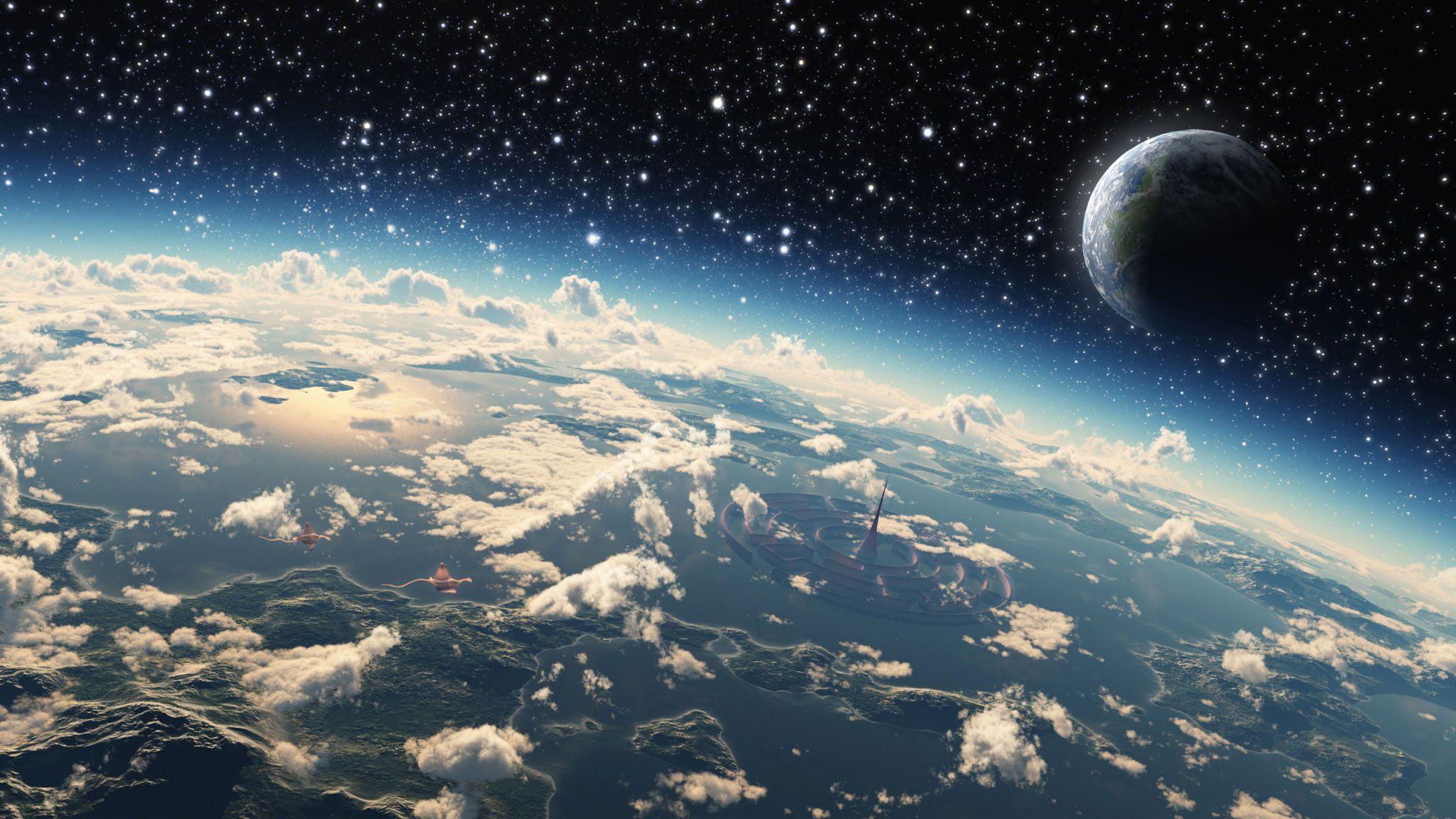 Oboi Kosmos Zvezdy Planety Svet Oblaka Na Rabochij Stol