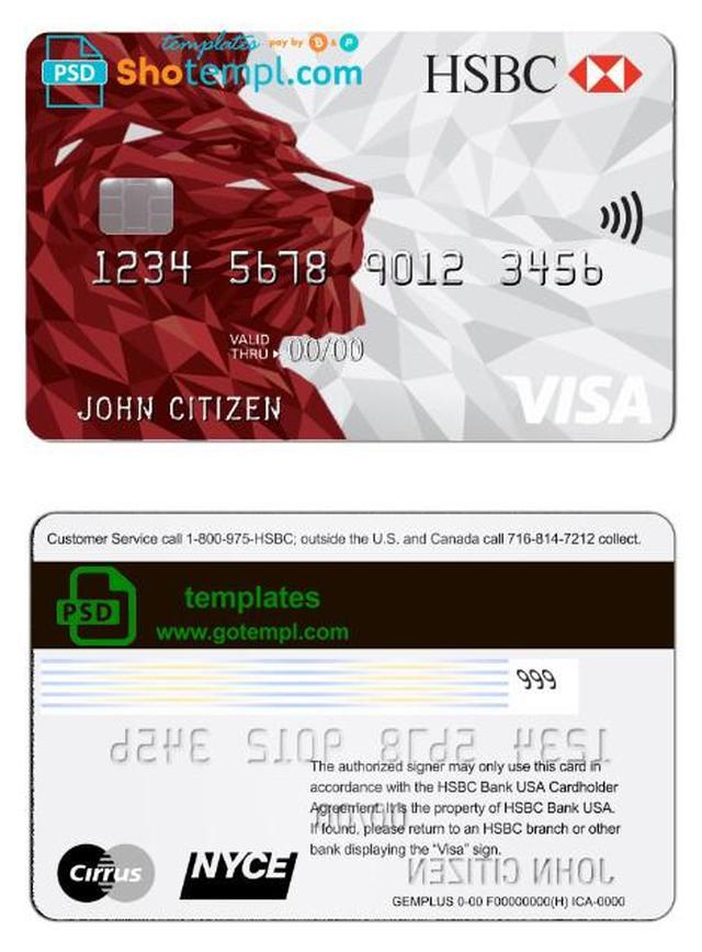 Usa Hsbc Bank Visa Credit Card Template In Psd Format Fully Editable Visa Credit Card Credit Card Visa Credit