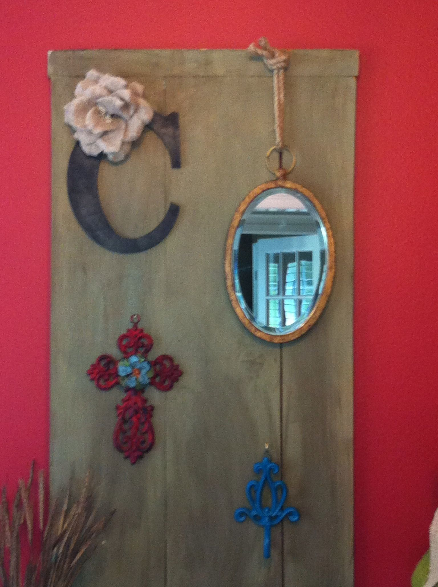 Old shelf painted and decorated with stuff from around the house-new wall decor in a flash!!