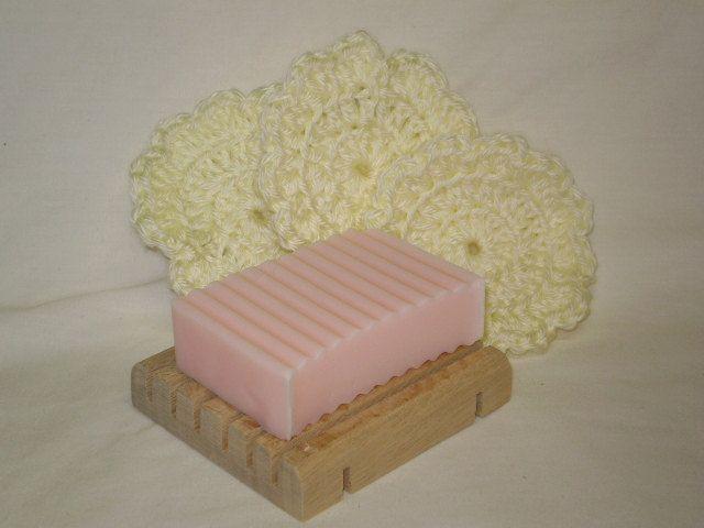 Soap, soap dish, face scrubbies - Set. $8.00, via Etsy.