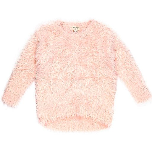 Mini girl pink fluffy jumper - baby girls tops - mini girls ...