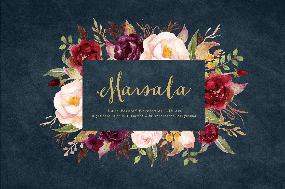 wedding invitation decoration clip art%0A Watercolor flower Clip ArtMarsala By Graphic Box