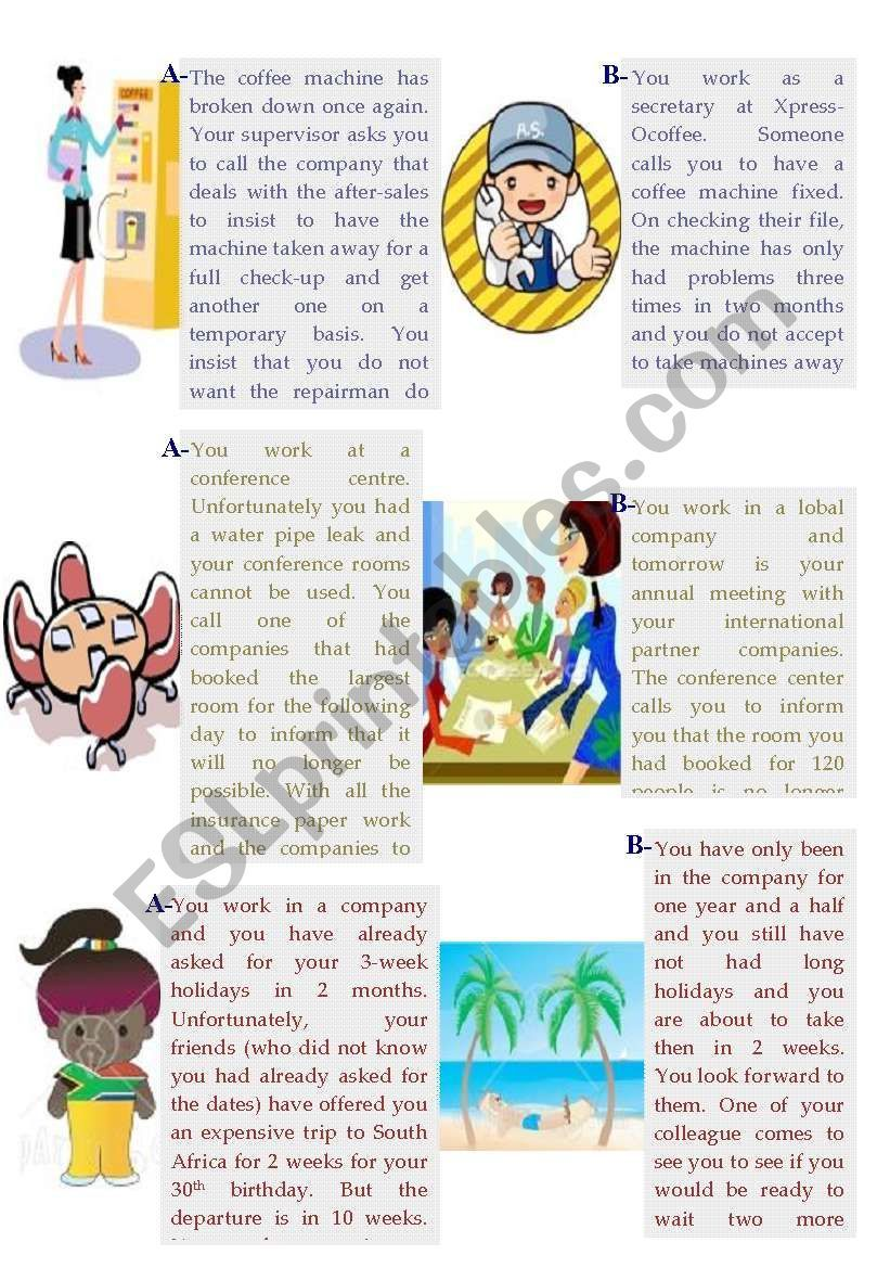 Business Role Plays Worksheet English Teaching Activities Roleplay English Language Teaching