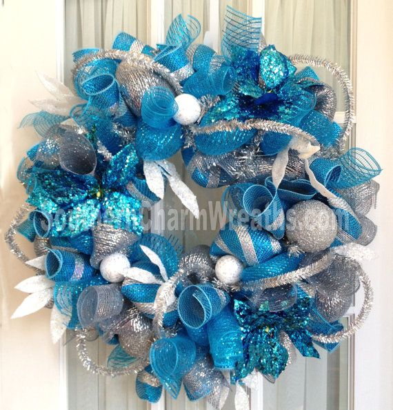 Deco Mesh Blue Christmas Wreath For Door Or Turquoise