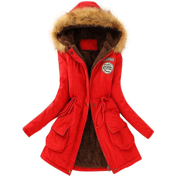 Womens Faux Fur Hooded Drawstring Thick Lined Parka Coat Red ($26 ...