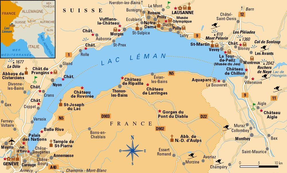 Leman Suisse France Geneve Lausanne Montreux Frontiere Franco