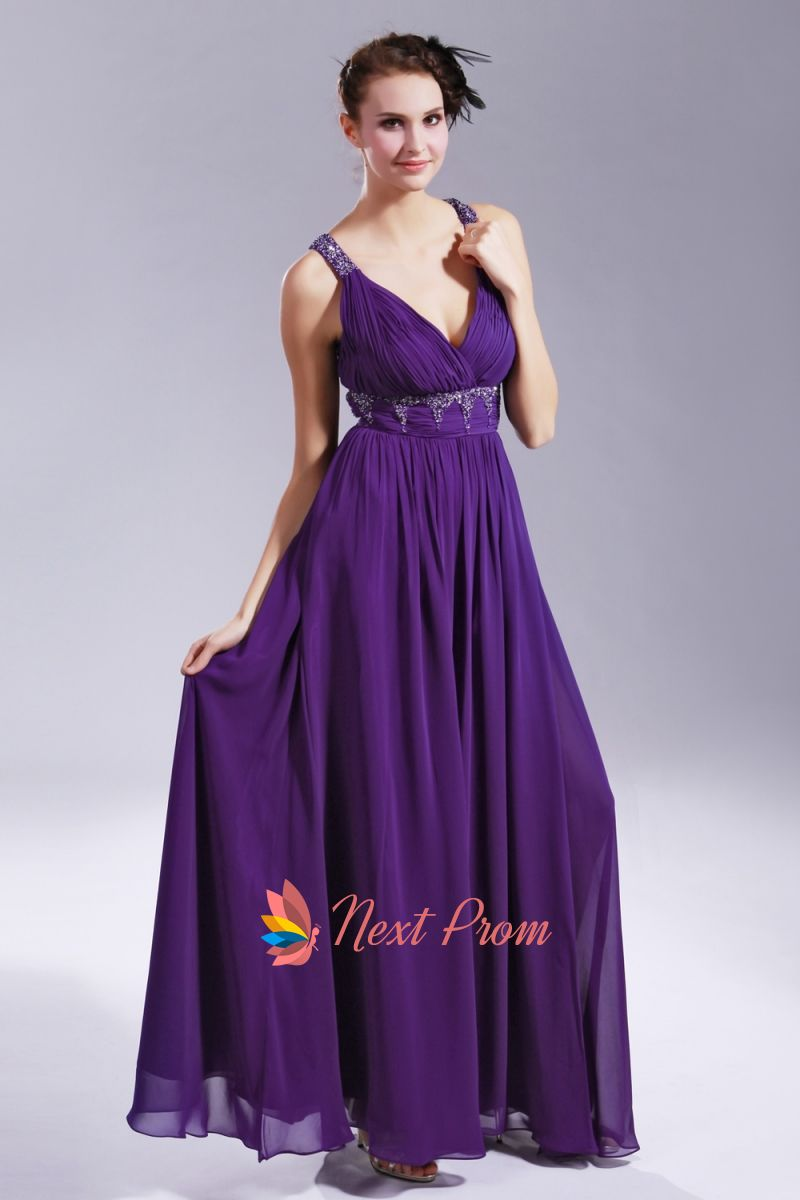 Long Purple Chiffon Evening Dress, V Neck Open Back Prom Dress ...