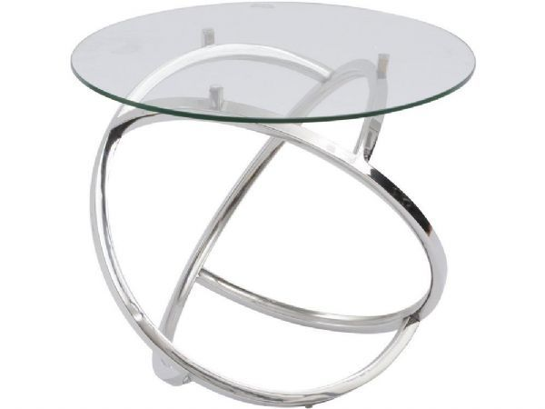 Gyro Silver Steel And Gl Side Table