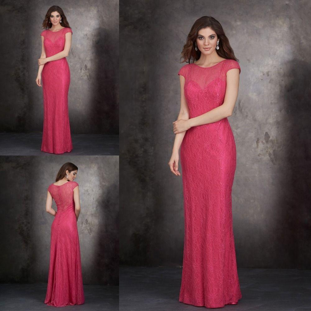 Barato Lindo Top Sheer Illusiono Ver Através Sereia Longo Lace Dama De Honra Vestido Rose Red Bridesmaid Dressespunching Bagmaid Of Honordress