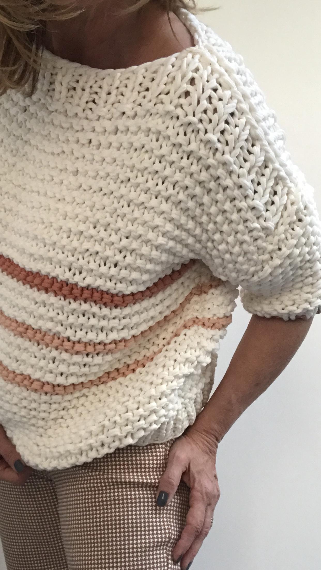 garter stitch top, chunky knit