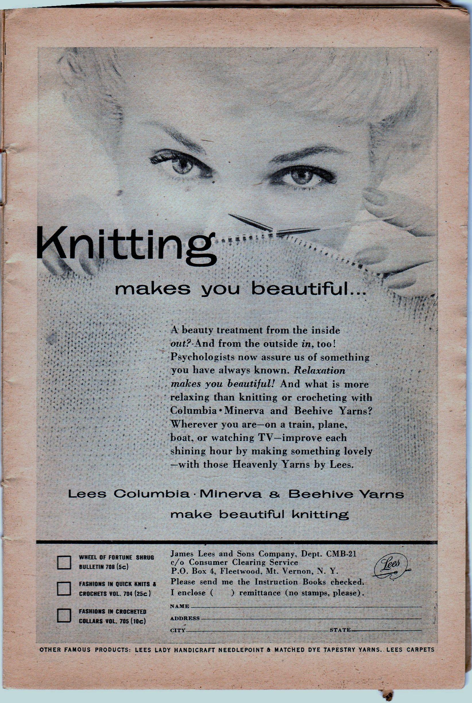 My favorite knitting ad from Workbasket Magazine 1954. | Knitting ...