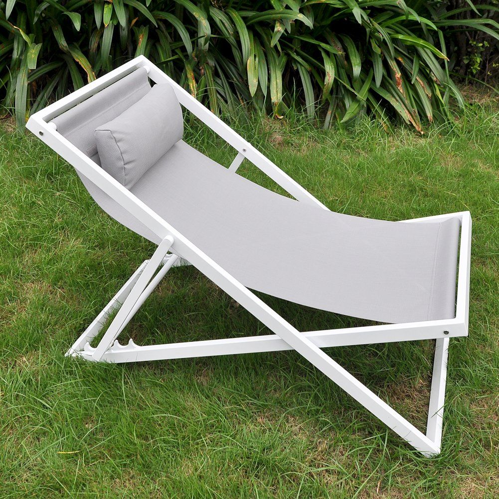 Beach sling chair - Outdoor Patio Folding Sling Beach Chair With Headrest Art To Real Lightweight Camping Chaise Lounger